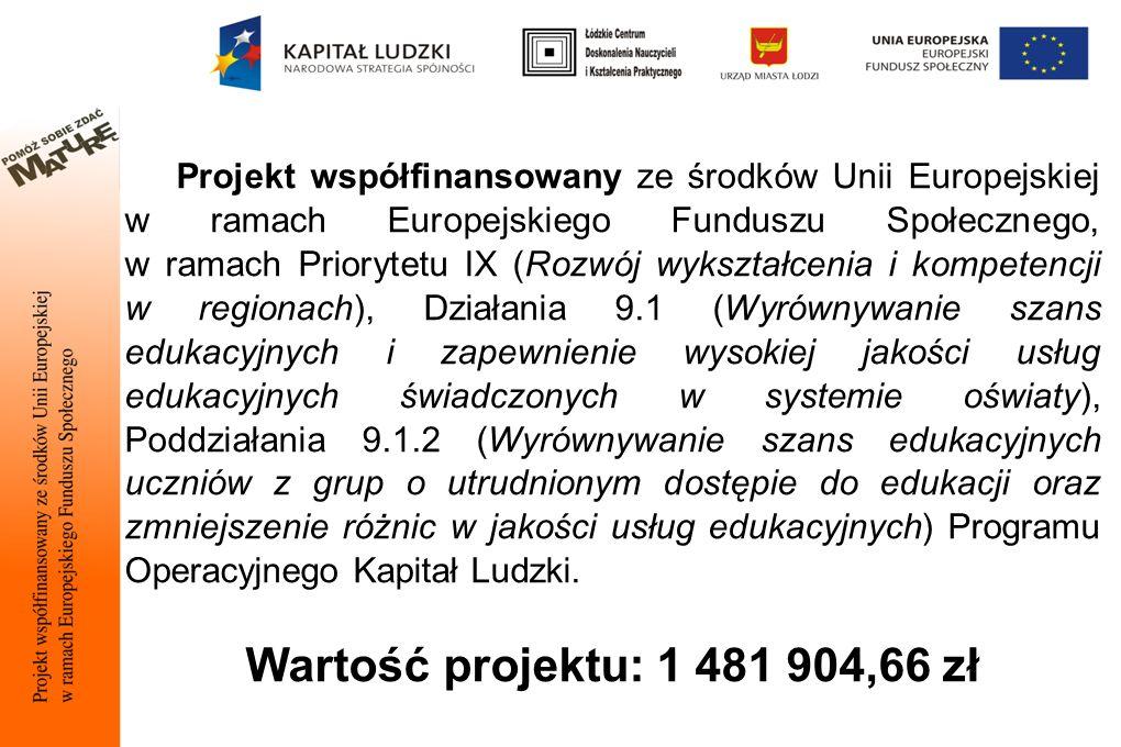 Projekt współfinansowany ze środków Unii Europejskiej w ramach Europejskiego Funduszu Społecznego, w ramach Priorytetu IX (Rozwój wykształcenia i kompetencji w regionach), Działania 9.1 (Wyrównywanie szans edukacyjnych i zapewnienie wysokiej jakości usług edukacyjnych świadczonych w systemie oświaty), Poddziałania 9.1.2 (Wyrównywanie szans edukacyjnych uczniów z grup o utrudnionym dostępie do edukacji oraz zmniejszenie różnic w jakości usług edukacyjnych) Programu Operacyjnego Kapitał Ludzki.