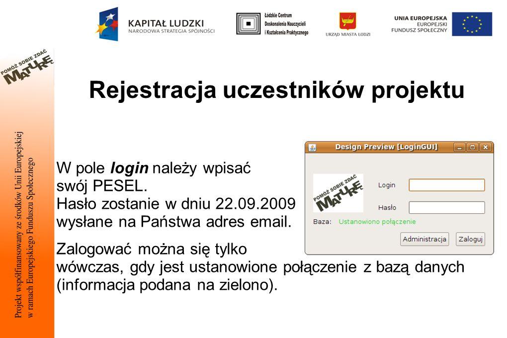 Rejestracja uczestników projektu W pole login należy wpisać swój PESEL.