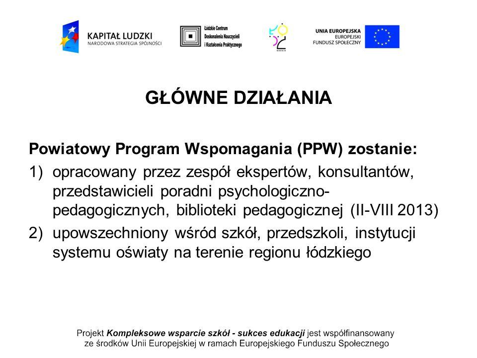 GŁÓWNE DZIAŁANIA Powiatowy Program Wspomagania (PPW) zostanie: 1)opracowany przez zespół ekspertów, konsultantów, przedstawicieli poradni psychologicz