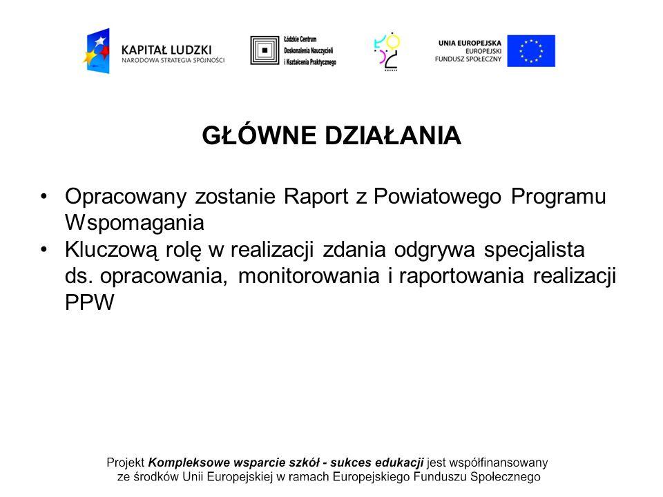 GŁÓWNE DZIAŁANIA Opracowany zostanie Raport z Powiatowego Programu Wspomagania Kluczową rolę w realizacji zdania odgrywa specjalista ds. opracowania,
