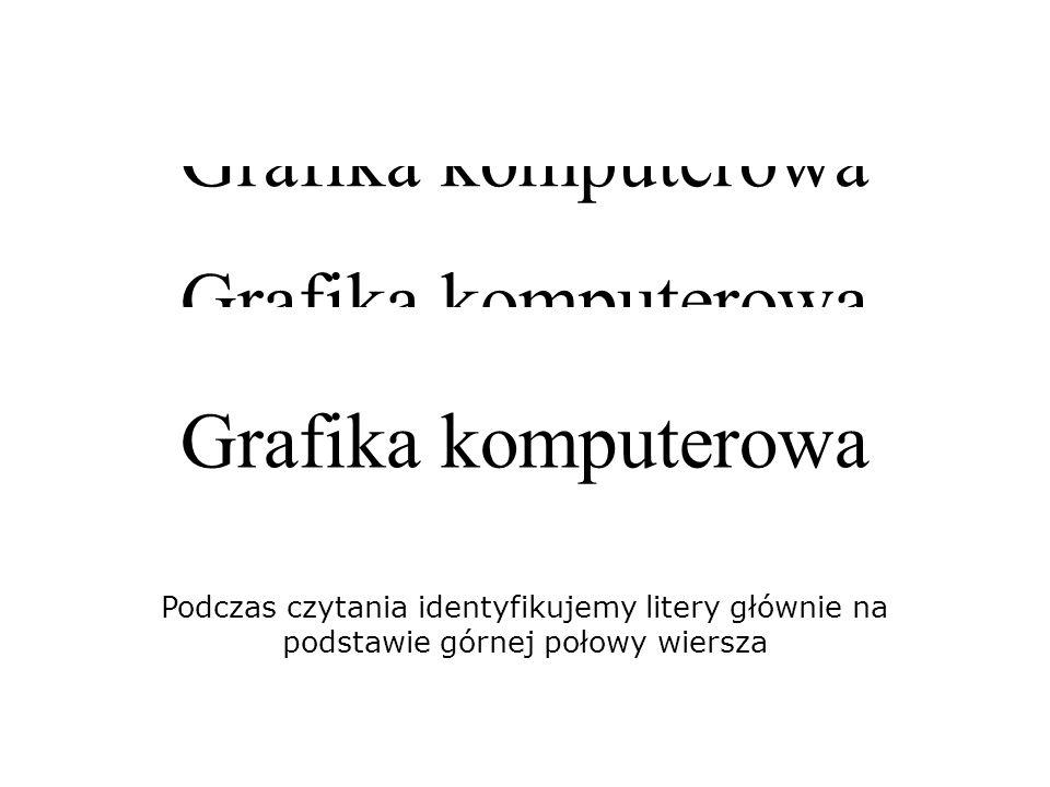 Podczas czytania identyfikujemy litery głównie na podstawie górnej połowy wiersza Grafika komputerowa