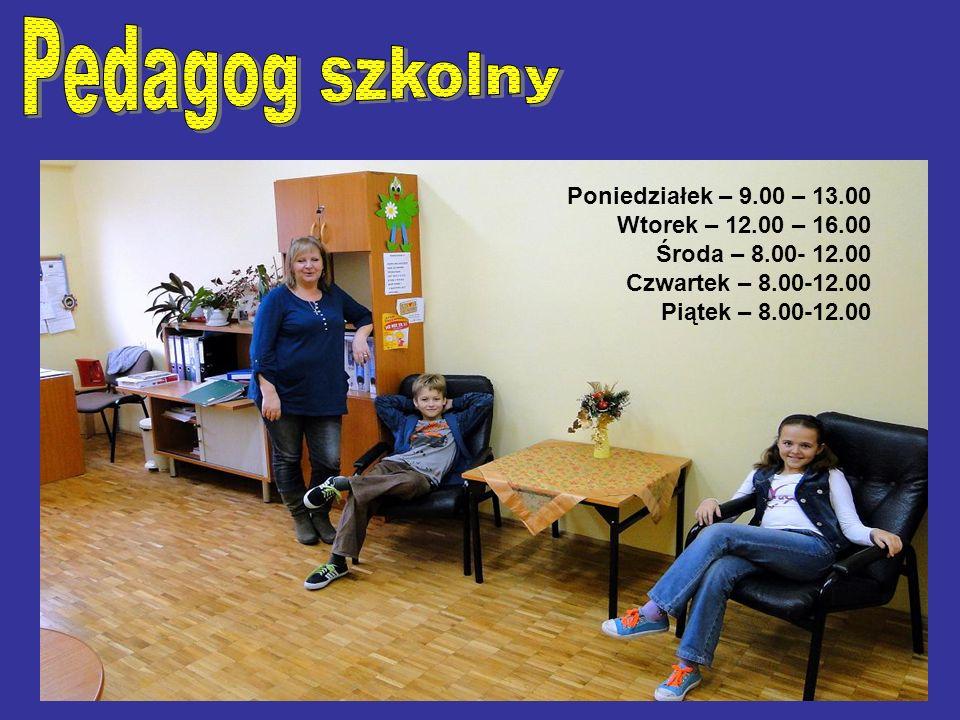 Poniedziałek – 9.00 – 13.00 Wtorek – 12.00 – 16.00 Środa – 8.00- 12.00 Czwartek – 8.00-12.00 Piątek – 8.00-12.00