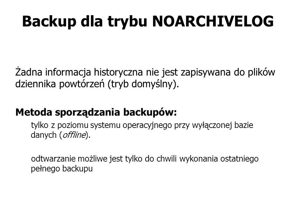 Backup dla trybu NOARCHIVELOG Żadna informacja historyczna nie jest zapisywana do plików dziennika powtórzeń (tryb domyślny). Metoda sporządzania back