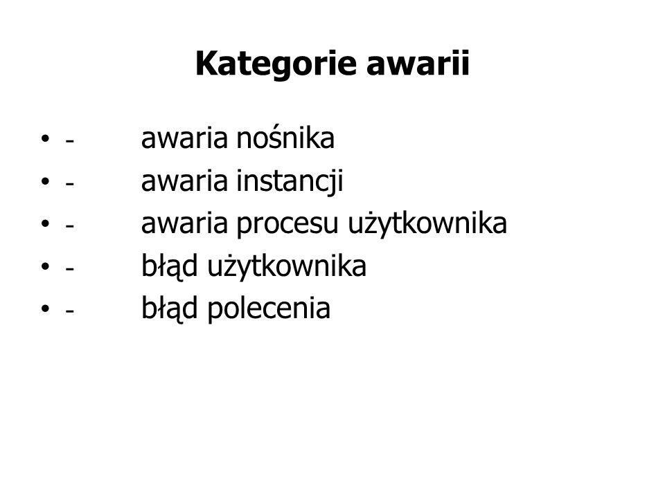 Kategorie awarii - awaria nośnika - awaria instancji - awaria procesu użytkownika - błąd użytkownika - błąd polecenia