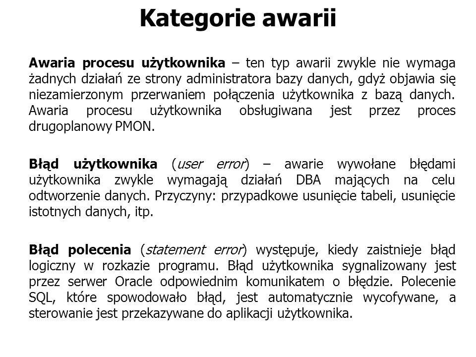 Kategorie awarii Awaria procesu użytkownika – ten typ awarii zwykle nie wymaga żadnych działań ze strony administratora bazy danych, gdyż objawia się