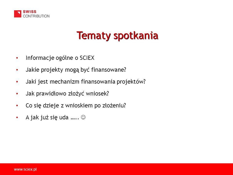 www.sciex.pl Informacje ogólne o SCIEX Jakie projekty mogą być finansowane.