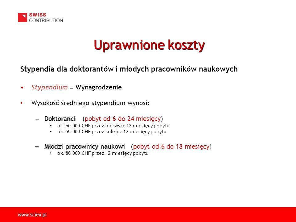 www.sciex.pl Krótkie wizyty badawcze dla mentorów z instytucji przyjmujących i goszczących dofinansowanie maksymalnie do 2 500 CHF w przypadku 5-dniowych wyjazdów, w tym: Transport - koszty podróży między Polską a Szwajcarią oraz transport lokalny Zakwaterowanie i wyżywienie - koszty hotelu oraz diety Uprawnione koszty