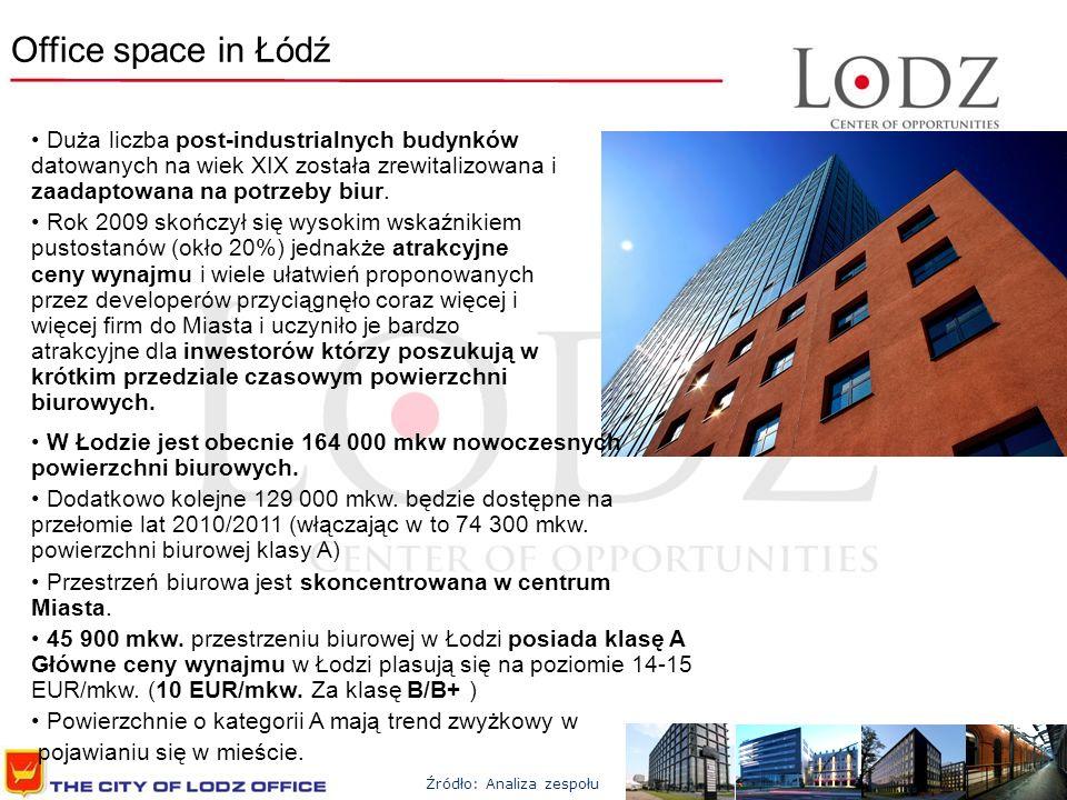 Office space in Łódź W Łodzie jest obecnie 164 000 mkw nowoczesnych powierzchni biurowych. Dodatkowo kolejne 129 000 mkw. będzie dostępne na przełomie