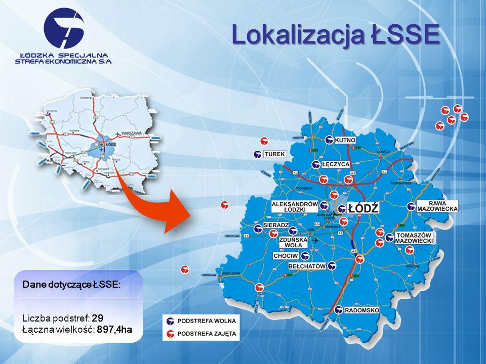Dane dotyczące ŁSSE: Liczba podstref: 29 Łączna wielkość: 897,4ha Lokalizacja ŁSSE