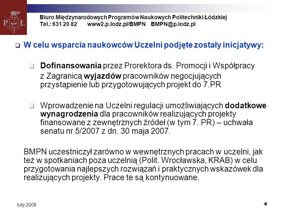 4 luty 2008 Biuro Międzynarodowych Programów Naukowych Politechniki Łódzkiej Tel.: 631 20 82www2.p.lodz.pl/BMPNBMPN@p.lodz.pl W celu wsparcia naukowców Uczelni podjęte zostały inicjatywy: Dofinansowania przez Prorektora ds.