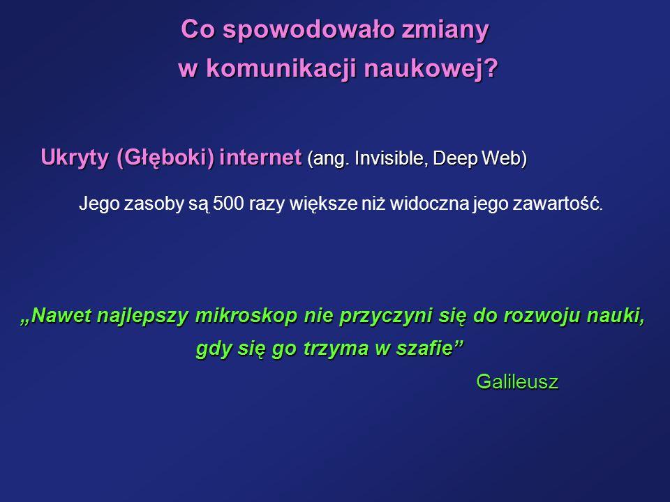 Co spowodowało zmiany w komunikacji naukowej? w komunikacji naukowej? Ukryty (Głęboki) internet (ang. Invisible, Deep Web) Nawet najlepszy mikroskop n