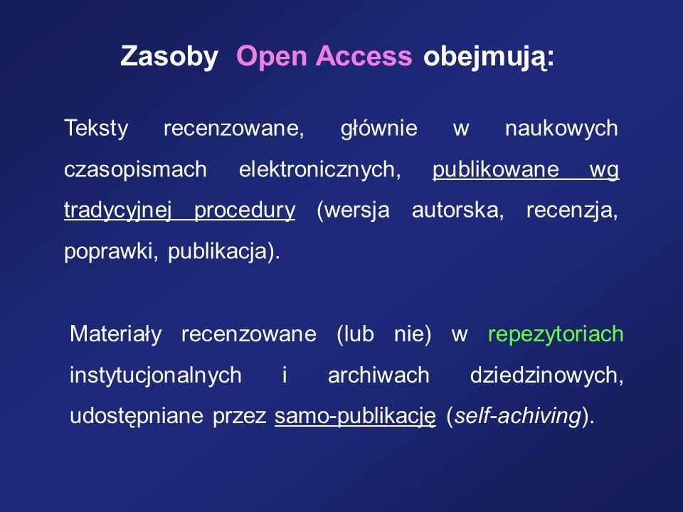 Zasoby Open Access obejmują: Materiały recenzowane (lub nie) w repezytoriach instytucjonalnych i archiwach dziedzinowych, udostępniane przez samo-publ