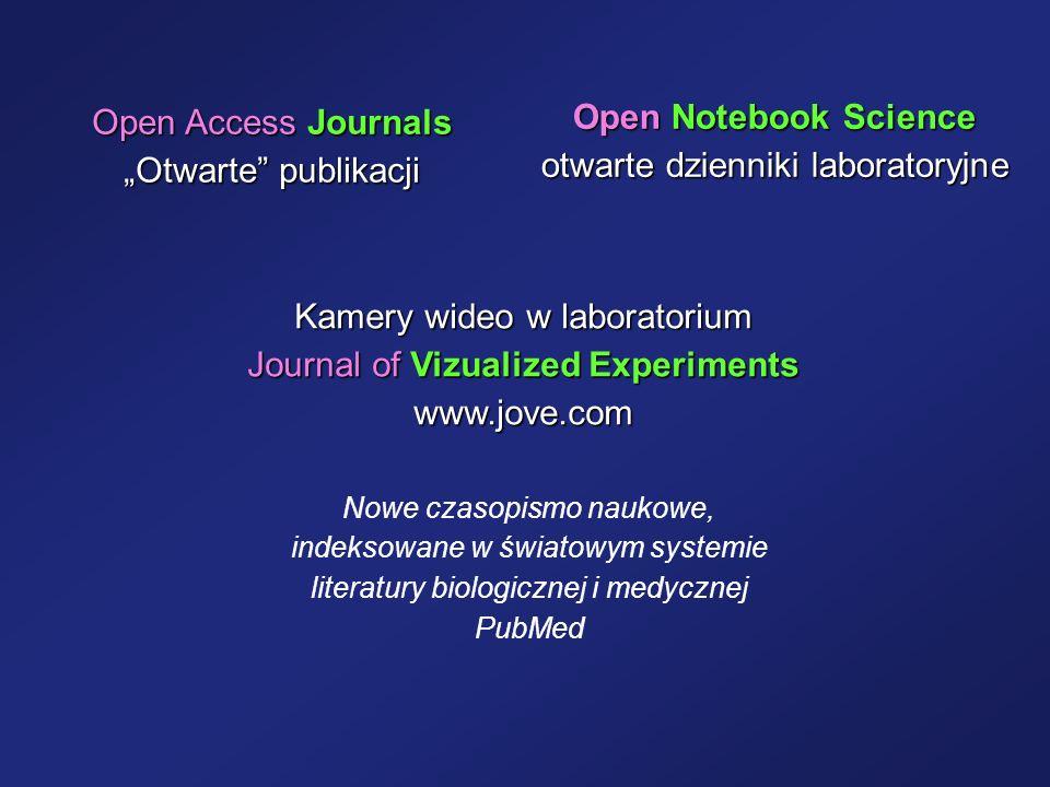 Open Notebook Science otwarte dzienniki laboratoryjne Kamery wideo w laboratorium Journal of Vizualized Experiments www.jove.com Nowe czasopismo nauko