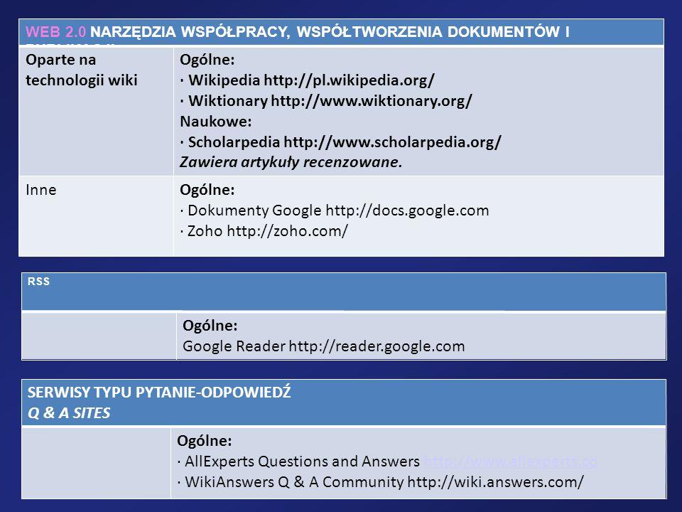 WEB 2.0 NARZĘDZIA WSPÓŁPRACY, WSPÓŁTWORZENIA DOKUMENTÓW I PUBLIKACJI Oparte na technologii wiki Ogólne: · Wikipedia http://pl.wikipedia.org/ · Wiktion