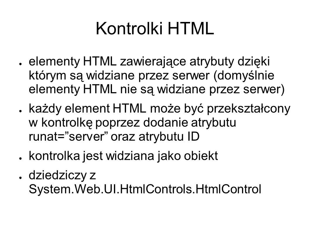 Kontrolki HTML elementy HTML zawierające atrybuty dzięki którym są widziane przez serwer (domyślnie elementy HTML nie są widziane przez serwer) każdy element HTML może być przekształcony w kontrolkę poprzez dodanie atrybutu runat=server oraz atrybutu ID kontrolka jest widziana jako obiekt dziedziczy z System.Web.UI.HtmlControls.HtmlControl