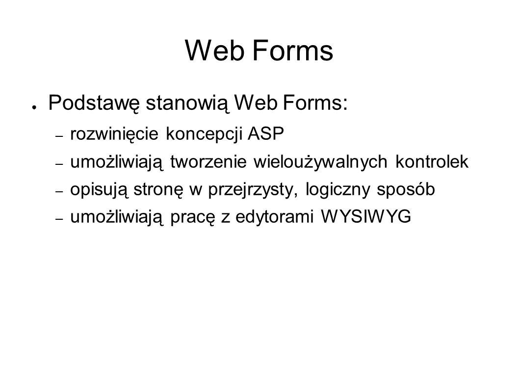 Web Forms Podstawę stanowią Web Forms: – rozwinięcie koncepcji ASP – umożliwiają tworzenie wieloużywalnych kontrolek – opisują stronę w przejrzysty, logiczny sposób – umożliwiają pracę z edytorami WYSIWYG