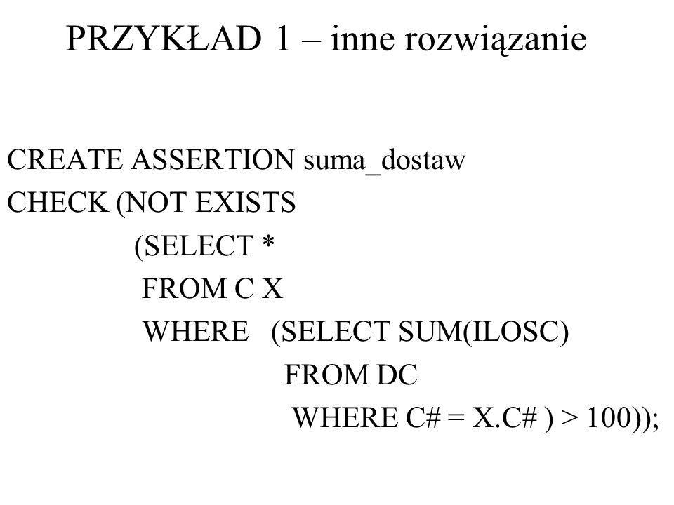 CREATE ASSERTION suma_dostaw CHECK (NOT EXISTS (SELECT * FROM C X WHERE (SELECT SUM(ILOSC) FROM DC WHERE C# = X.C# ) > 100)); PRZYKŁAD 1 – inne rozwią