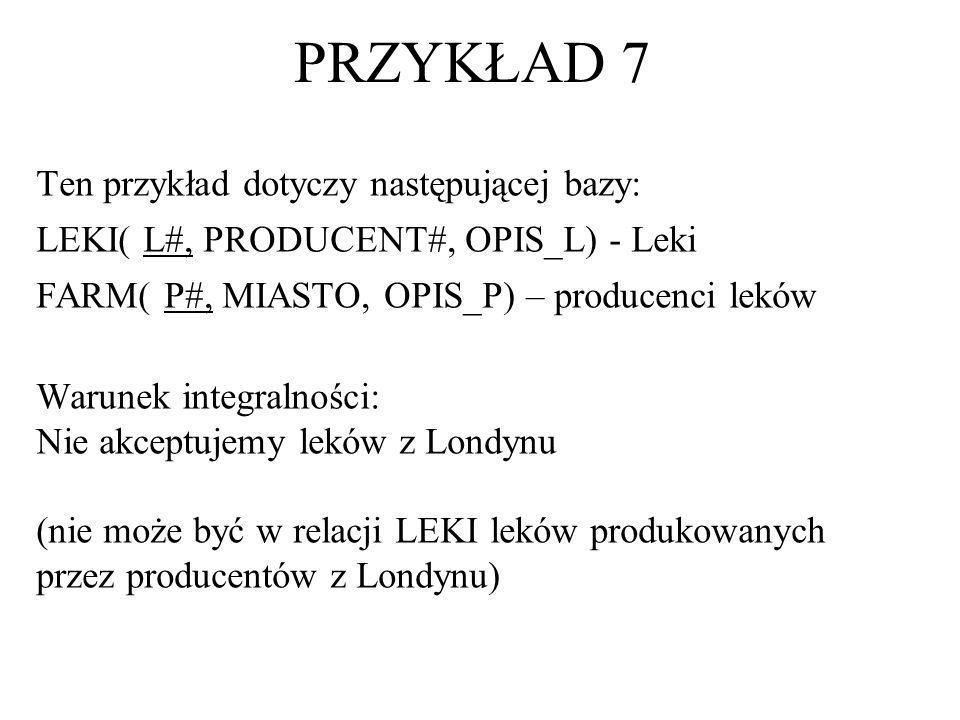 Ten przykład dotyczy następującej bazy: LEKI( L#, PRODUCENT#, OPIS_L) - Leki FARM( P#, MIASTO, OPIS_P) – producenci leków Warunek integralności: Nie a