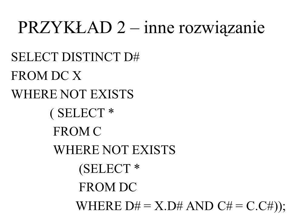 Status dostawcy jest liczbą dodatnią (Nie istnieje dostawca, którego status nie jest dodatni) CREATE ASSERTION A2 CHECK (NOT EXISTS (SELECT * FROM D WHERE NOT (STATUS>0))); PRZYKŁAD 3