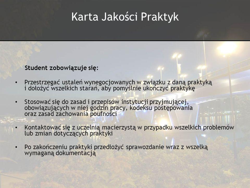 Karta Jakości Praktyk Student zobowiązuje się: Przestrzegać ustaleń wynegocjowanych w związku z daną praktyką i dołożyć wszelkich starań, aby pomyślni