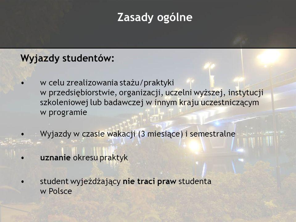 Zasady ogólne Wyjazdy studentów: pobyt od 3 do 12 miesięcy zgodnie z zaproszeniem z instytucji przyjmującej pobyt w przedziale czasowym od 1 czerwca 2010 do 30 września 2011 wyjazd na praktykę Erasmusa możliwy RAZ W ŻYCIU