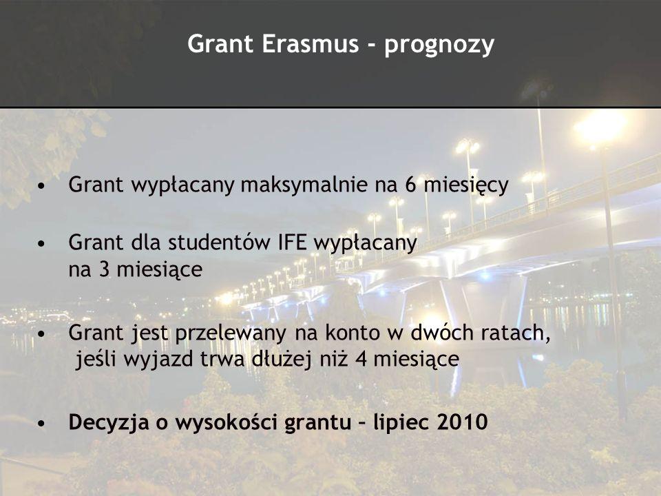 Grant wypłacany maksymalnie na 6 miesięcy Grant dla studentów IFE wypłacany na 3 miesiące Grant jest przelewany na konto w dwóch ratach, jeśli wyjazd