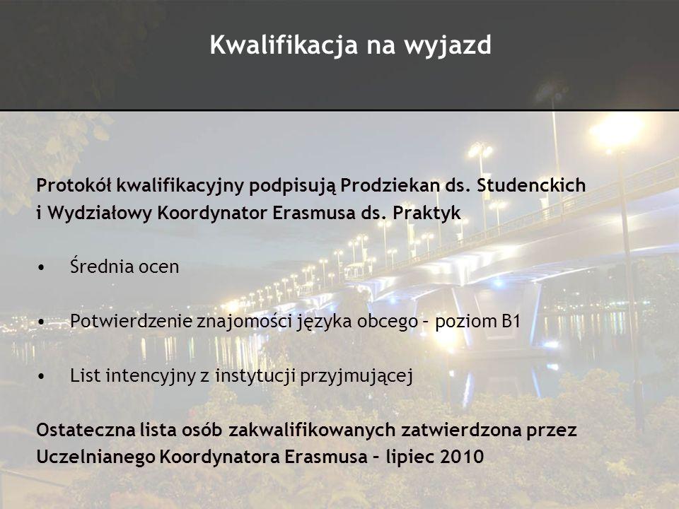 Protokół kwalifikacyjny podpisują Prodziekan ds. Studenckich i Wydziałowy Koordynator Erasmusa ds. Praktyk Średnia ocen Potwierdzenie znajomości język