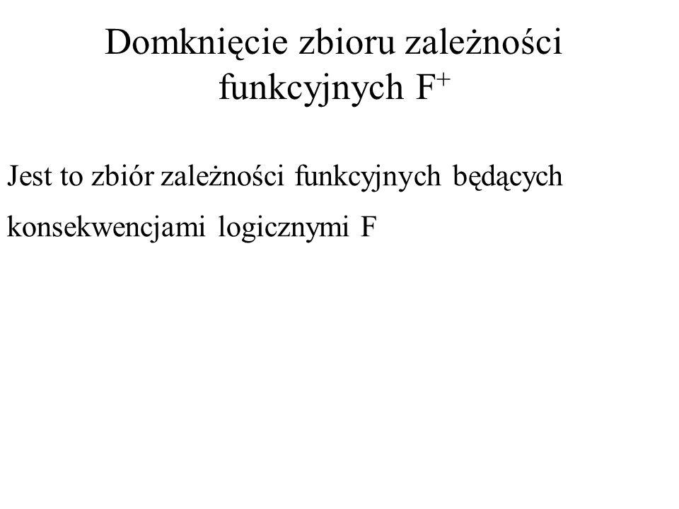 Domknięcie zbioru zależności funkcyjnych F + Jest to zbiór zależności funkcyjnych będących konsekwencjami logicznymi F