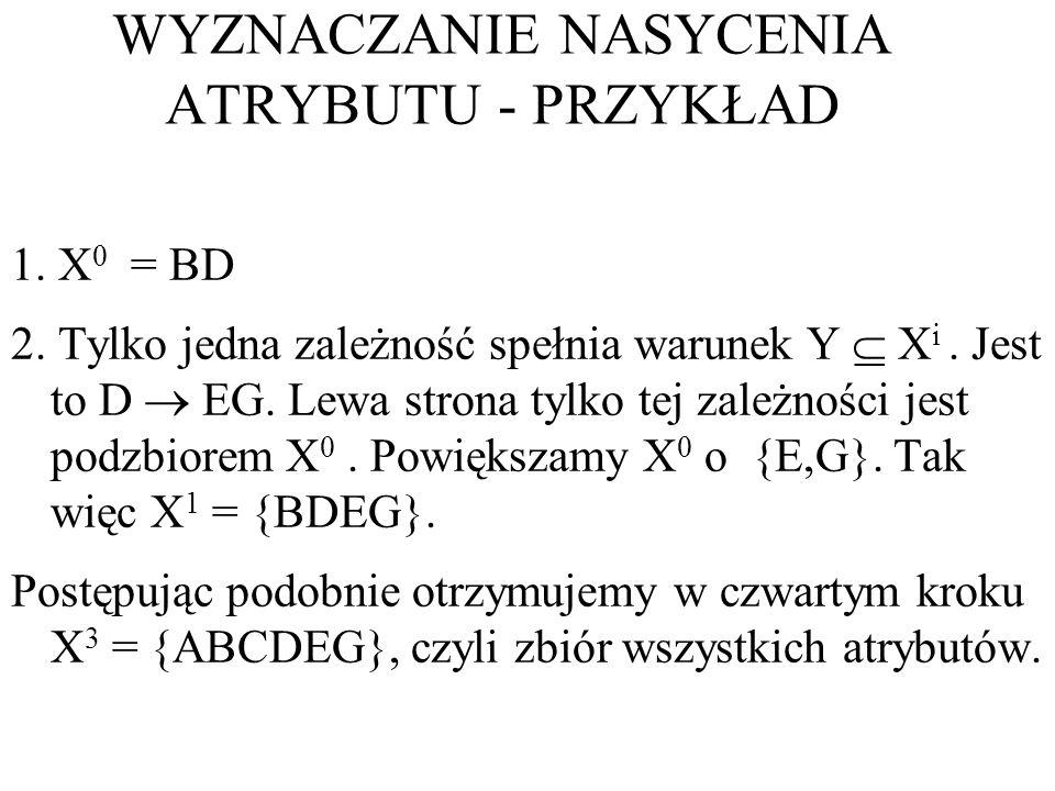1. X 0 = BD 2. Tylko jedna zależność spełnia warunek Y X i. Jest to D EG. Lewa strona tylko tej zależności jest podzbiorem X 0. Powiększamy X 0 o {E,G