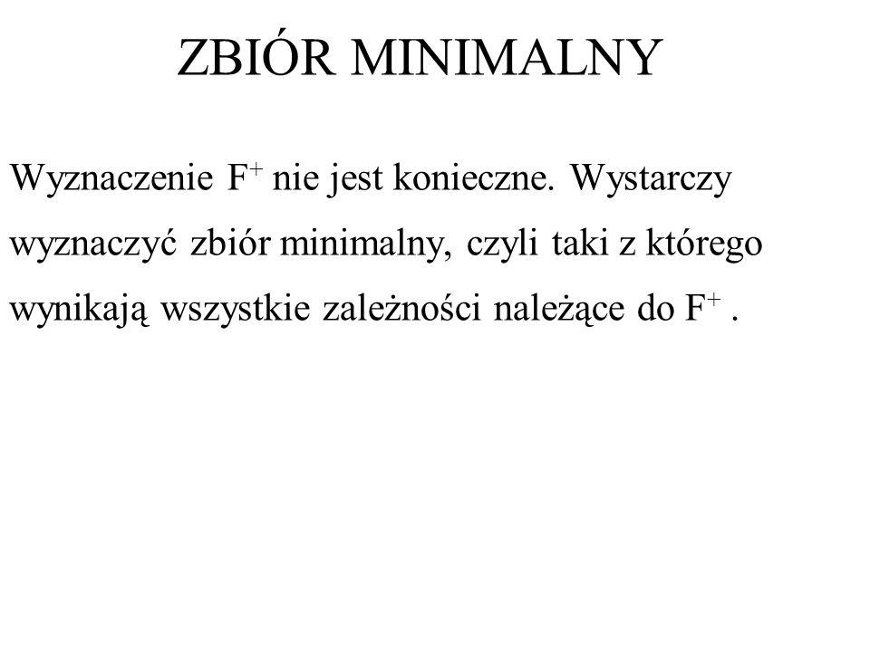 Wyznaczenie F + nie jest konieczne. Wystarczy wyznaczyć zbiór minimalny, czyli taki z którego wynikają wszystkie zależności należące do F +. ZBIÓR MIN