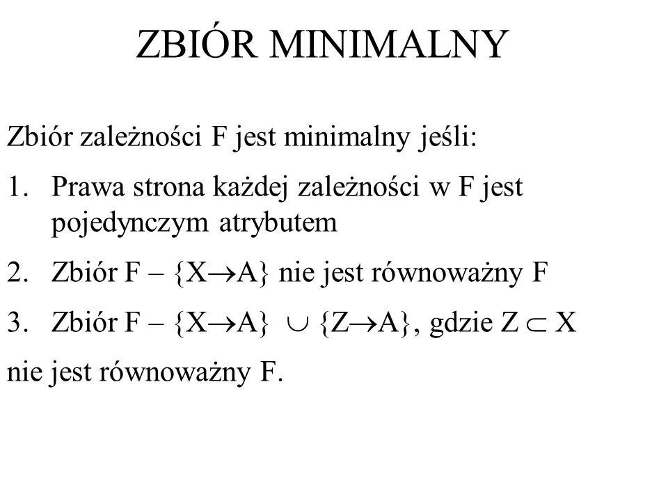 Zbiór zależności F jest minimalny jeśli: 1.Prawa strona każdej zależności w F jest pojedynczym atrybutem 2.Zbiór F – {X A} nie jest równoważny F 3.Zbi