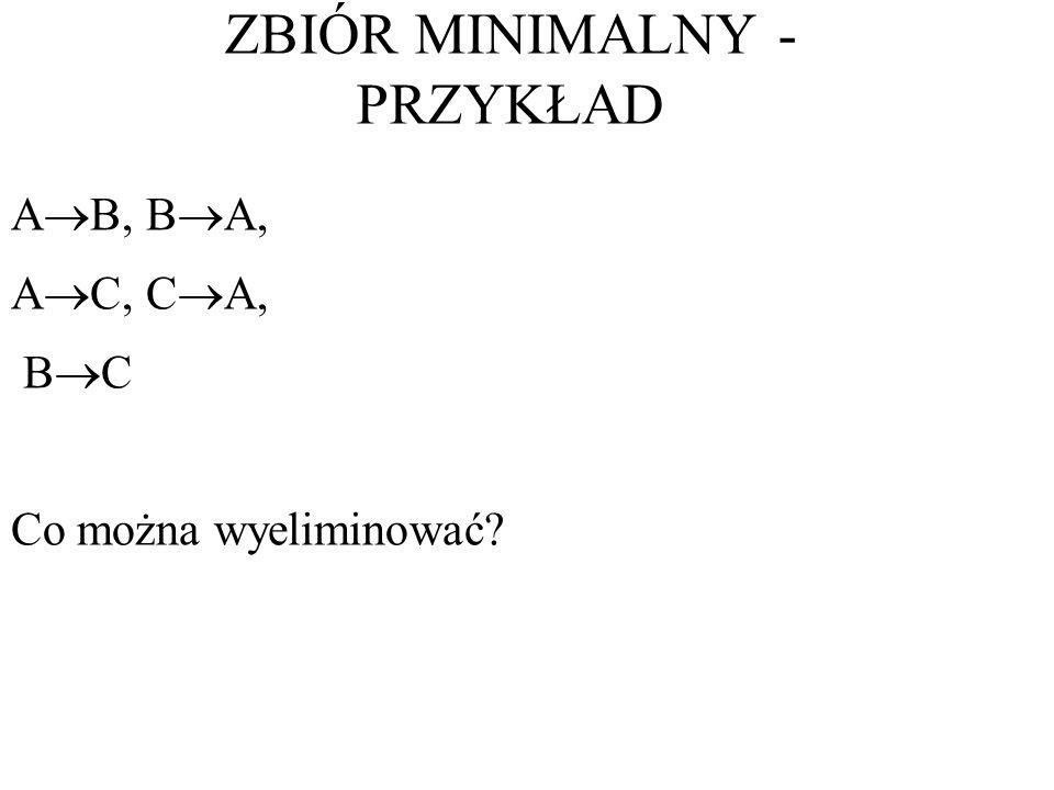 A B, B A, A C, C A, B C Co można wyeliminować? ZBIÓR MINIMALNY - PRZYKŁAD