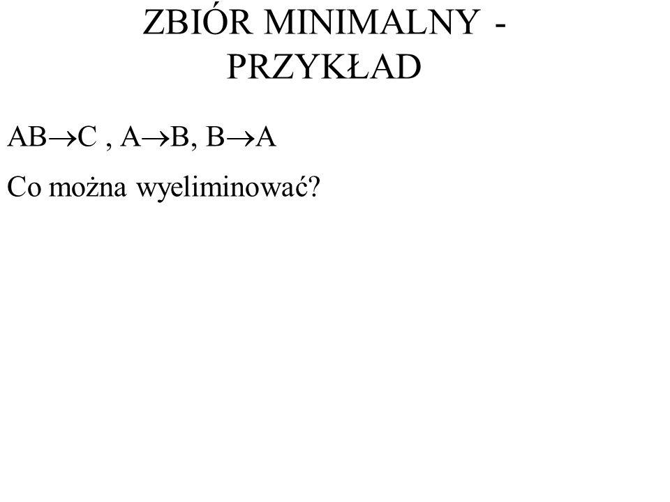 AB C, A B, B A Co można wyeliminować? ZBIÓR MINIMALNY - PRZYKŁAD