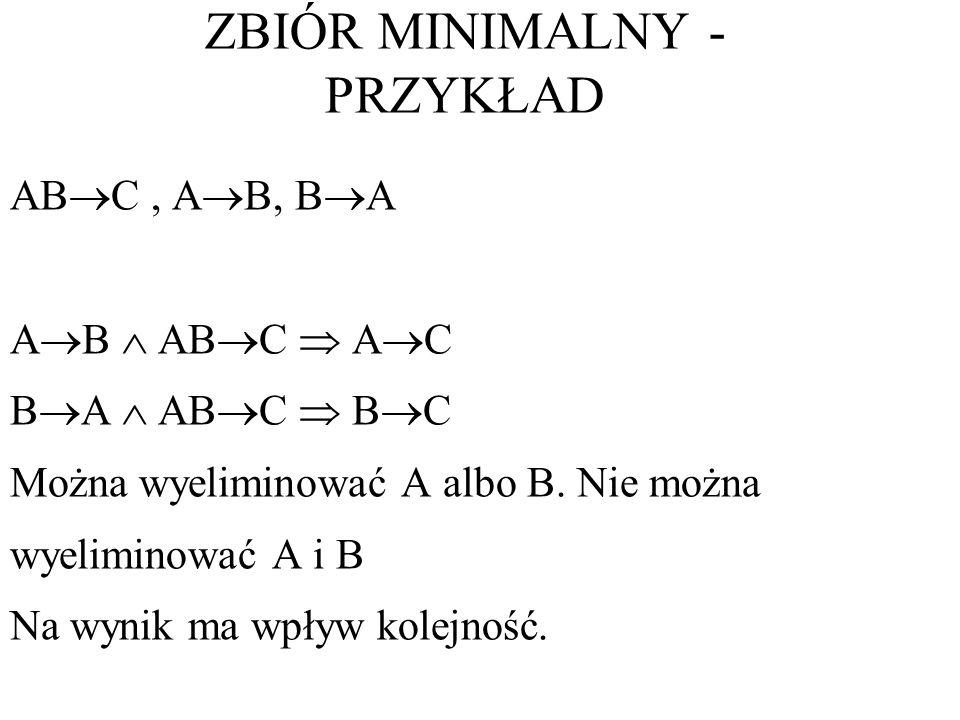 AB C, A B, B A A B AB C A C B A AB C B C Można wyeliminować A albo B. Nie można wyeliminować A i B Na wynik ma wpływ kolejność. ZBIÓR MINIMALNY - PRZY