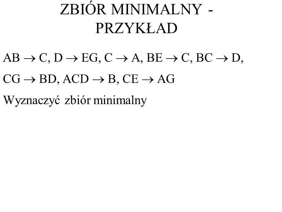 AB C, D EG, C A, BE C, BC D, CG BD, ACD B, CE AG Wyznaczyć zbiór minimalny ZBIÓR MINIMALNY - PRZYKŁAD