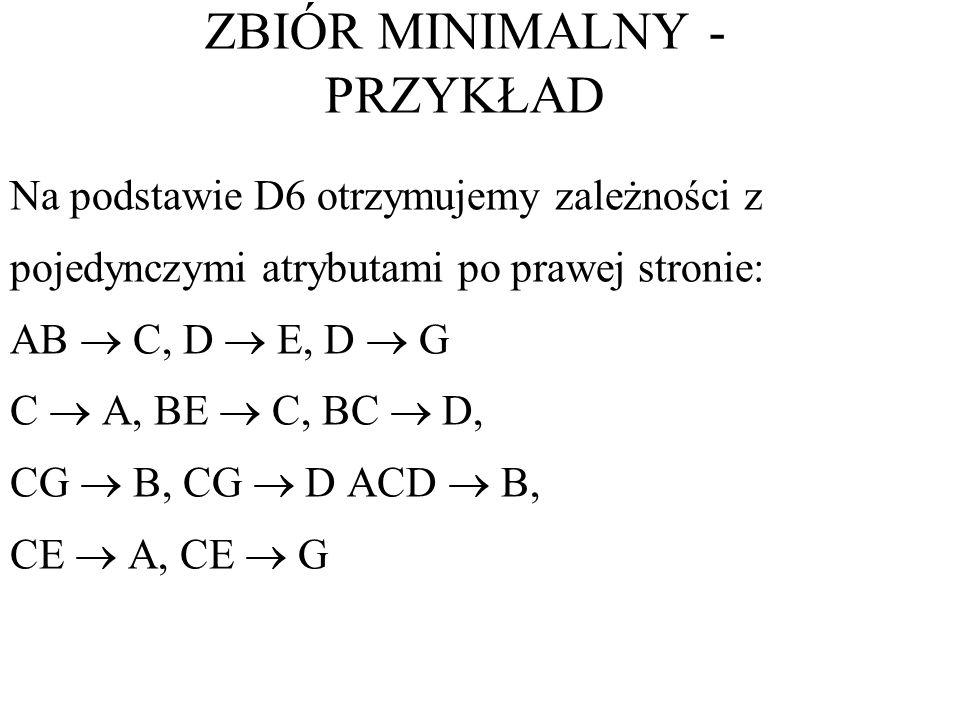 Na podstawie D6 otrzymujemy zależności z pojedynczymi atrybutami po prawej stronie: AB C, D E, D G C A, BE C, BC D, CG B, CG D ACD B, CE A, CE G ZBIÓR