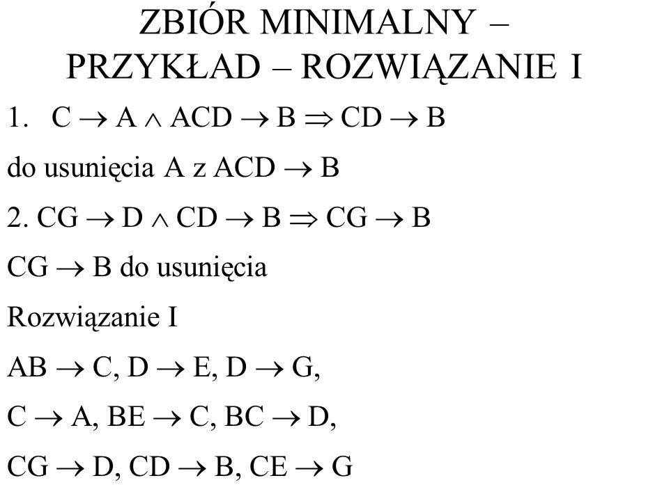 1.C A ACD B CD B do usunięcia A z ACD B 2. CG D CD B CG B CG B do usunięcia Rozwiązanie I AB C, D E, D G, C A, BE C, BC D, CG D, CD B, CE G ZBIÓR MINI