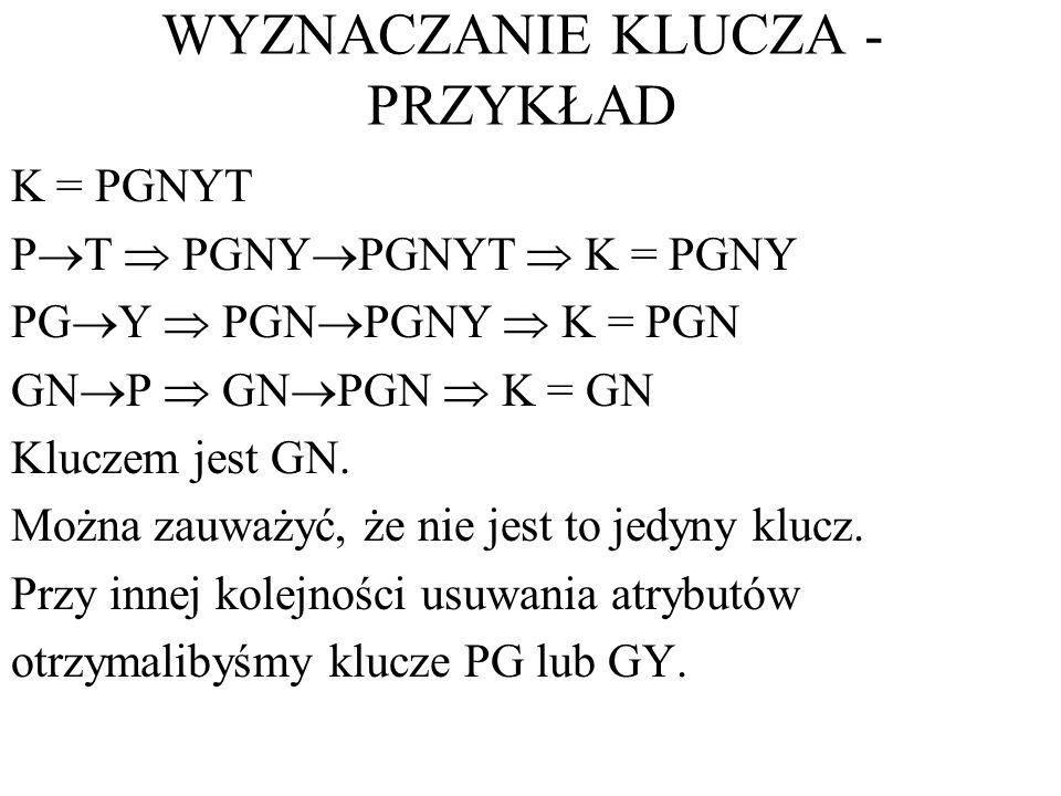 WYZNACZANIE KLUCZA - PRZYKŁAD K = PGNYT P T PGNY PGNYT K = PGNY PG Y PGN PGNY K = PGN GN P GN PGN K = GN Kluczem jest GN. Można zauważyć, że nie jest