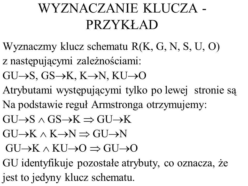 WYZNACZANIE KLUCZA - PRZYKŁAD Wyznaczmy klucz schematu R(K, G, N, S, U, O) z następującymi zależnościami: GU S, GS K, K N, KU O Atrybutami występujący