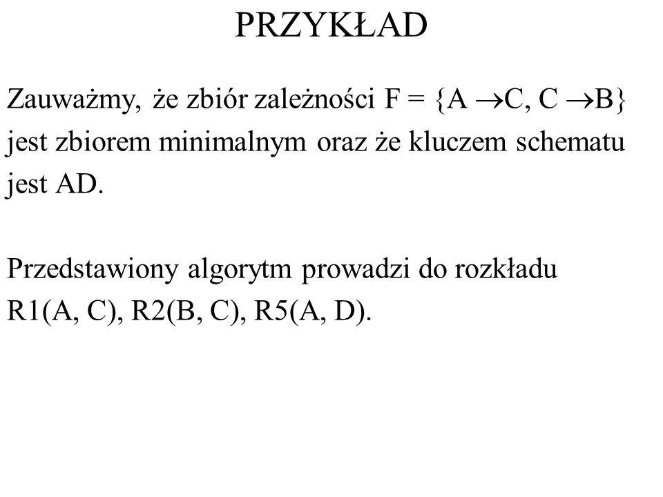 PRZYKŁAD Zauważmy, że zbiór zależności F = {A C, C B} jest zbiorem minimalnym oraz że kluczem schematu jest AD. Przedstawiony algorytm prowadzi do roz