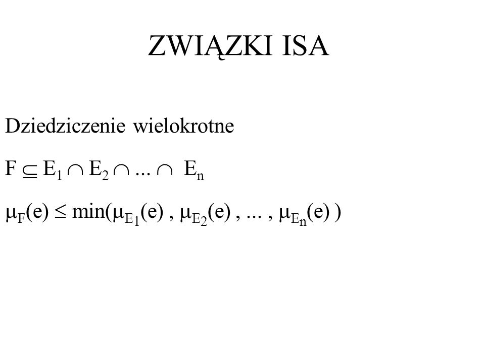 ZWIĄZKI ISA Dziedziczenie wielokrotne F E 1 E 2... E n F (e) min( E 1 (e), E 2 (e),..., E n (e) )