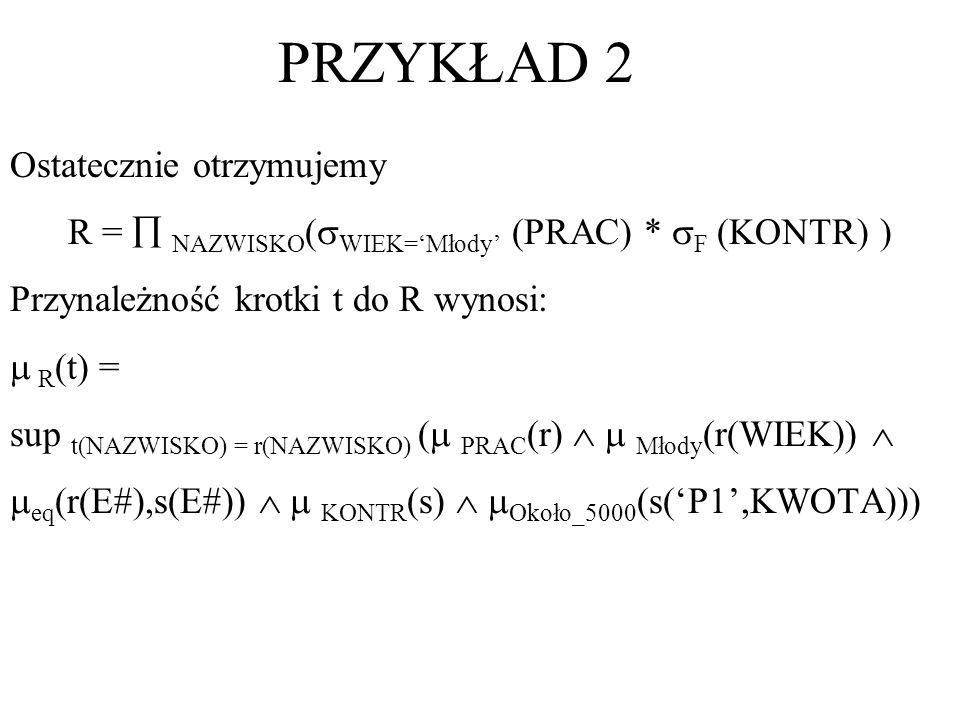 PRZYKŁAD 2 Ostatecznie otrzymujemy R = NAZWISKO ( WIEK=Młody (PRAC) * F (KONTR) ) Przynależność krotki t do R wynosi: R (t) = sup t(NAZWISKO) = r(NAZW
