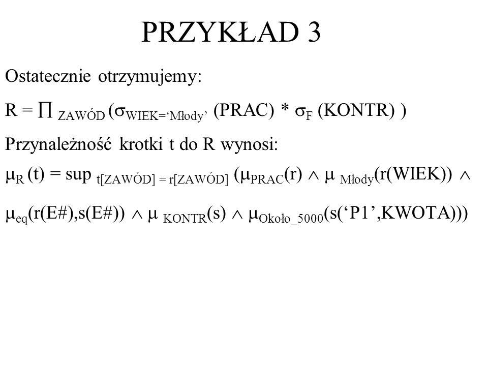Ostatecznie otrzymujemy: R = ZAWÓD ( WIEK=Młody (PRAC) * F (KONTR) ) Przynależność krotki t do R wynosi: R (t) = sup t[ZAWÓD] = r[ZAWÓD] ( PRAC (r) Mł