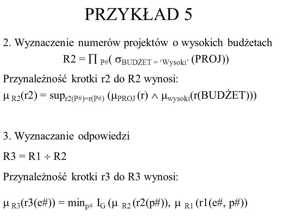 2. Wyznaczenie numerów projektów o wysokich budżetach R2 = P# ( BUDŻET = Wysoki (PROJ)) Przynależność krotki r2 do R2 wynosi: R2 (r2) = sup r2(P#)=r(P