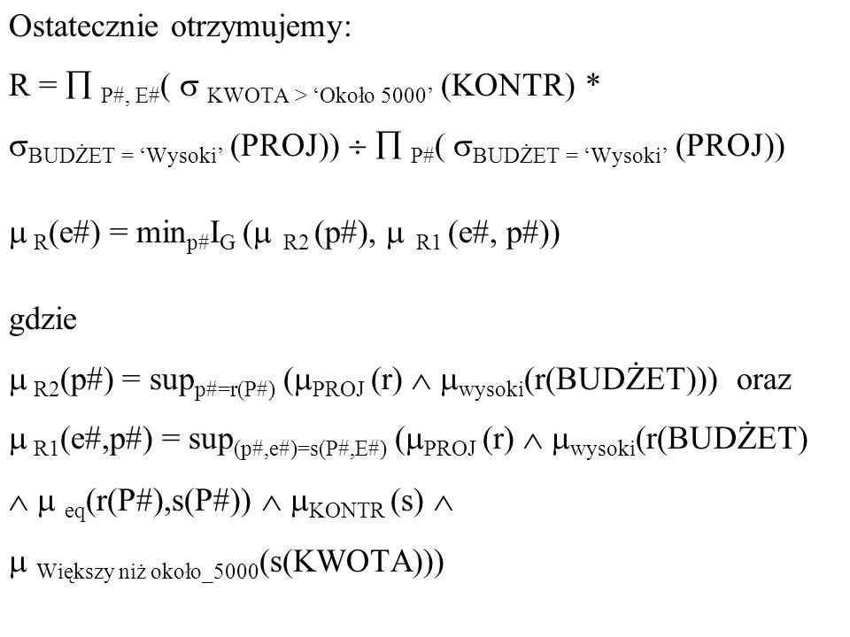 Ostatecznie otrzymujemy: R = P#, E# ( KWOTA > Około 5000 (KONTR) * BUDŻET = Wysoki (PROJ)) P# ( BUDŻET = Wysoki (PROJ)) R (e#) = min p# I G ( R2 (p#),