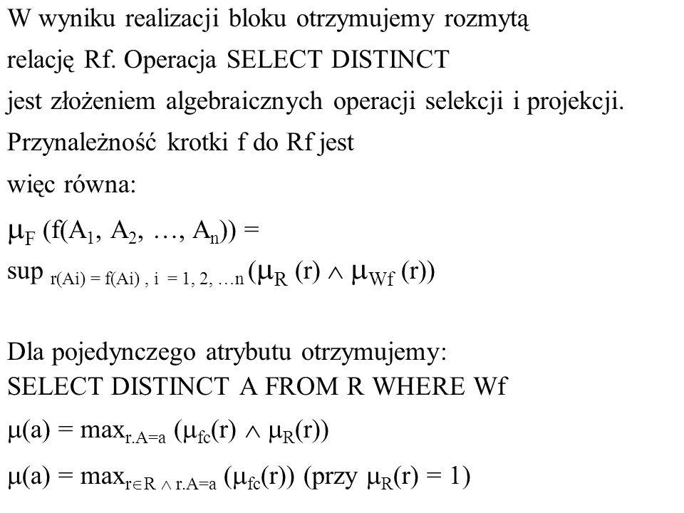 W wyniku realizacji bloku otrzymujemy rozmytą relację Rf. Operacja SELECT DISTINCT jest złożeniem algebraicznych operacji selekcji i projekcji. Przyna
