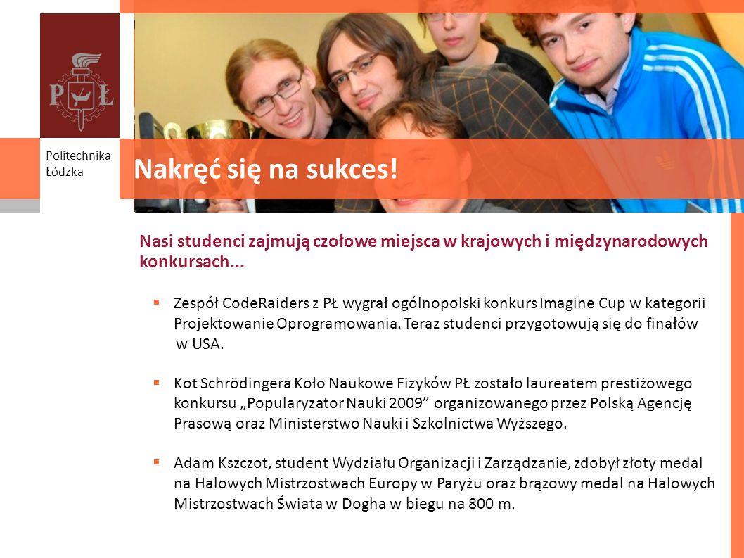 Student success Nasi studenci zajmują czołowe miejsca w krajowych i międzynarodowych konkursach... Politechnika Łódzka Nakręć się na sukces! Zespół Co