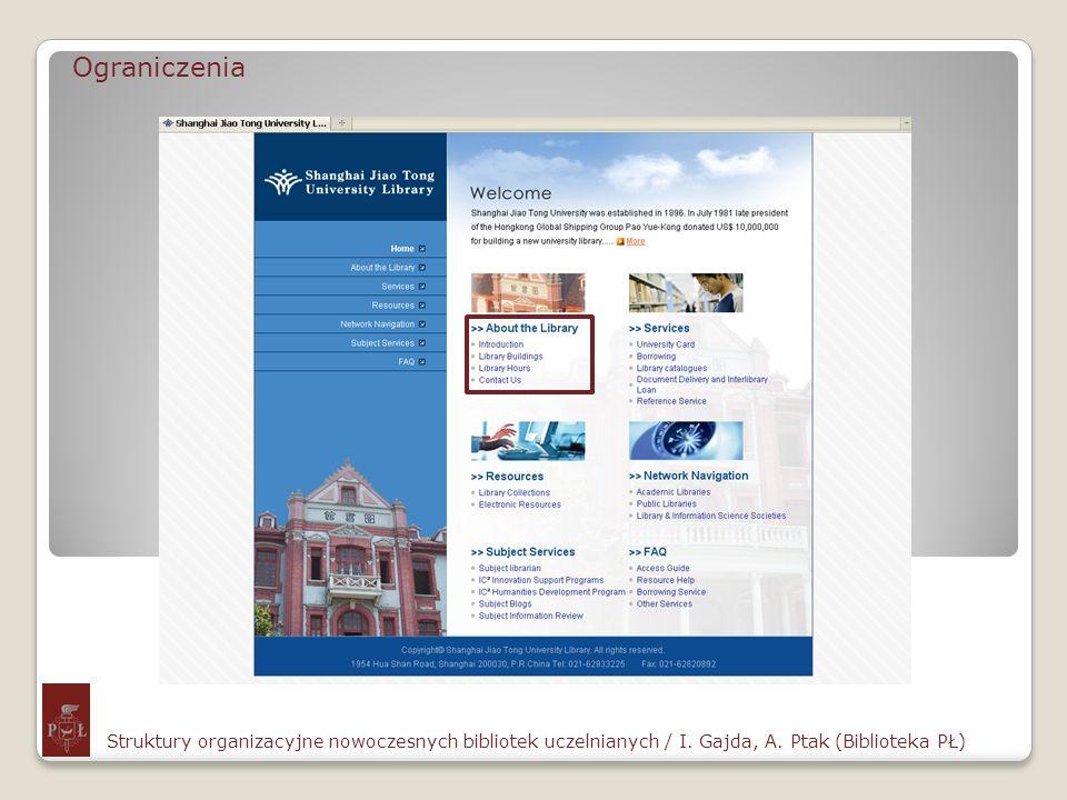Ograniczenia Struktury organizacyjne nowoczesnych bibliotek uczelnianych / I. Gajda, A. Ptak (Biblioteka PŁ)