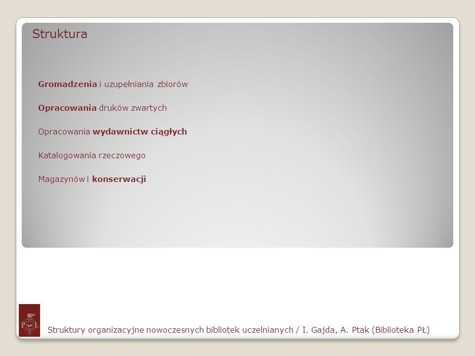 Struktura Struktury organizacyjne nowoczesnych bibliotek uczelnianych / I. Gajda, A. Ptak (Biblioteka PŁ) Gromadzenia i uzupełniania zbiorów Opracowan