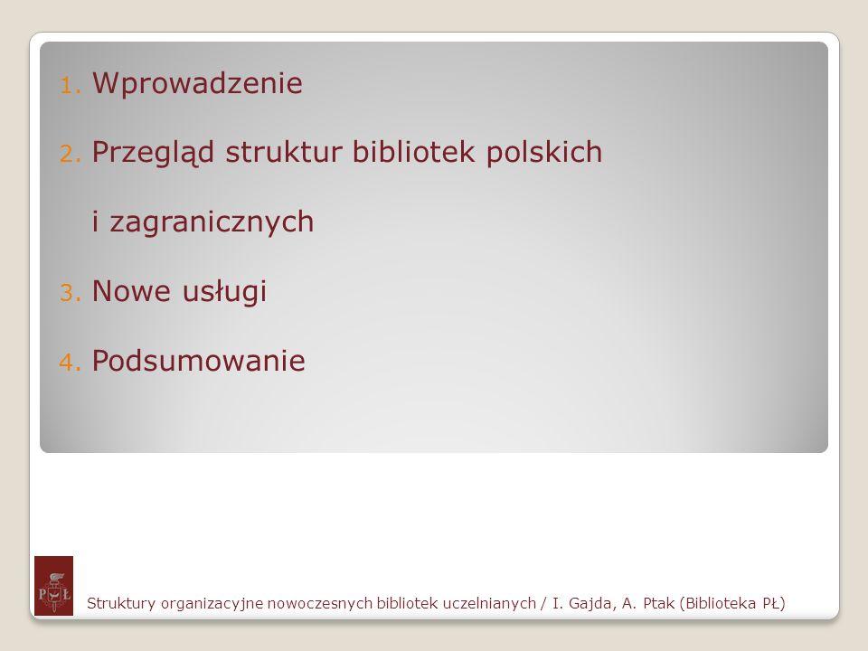 1. Wprowadzenie 2. Przegląd struktur bibliotek polskich i zagranicznych 3. Nowe usługi 4. Podsumowanie Struktury organizacyjne nowoczesnych bibliotek